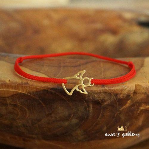 Červený náramok Anjel – Pozlátené Striebro Ag 925
