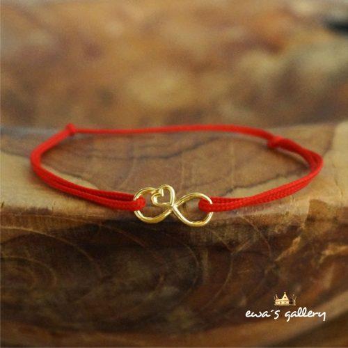 Červený náramok Infinity Love – Pozlátené Striebro Ag 925