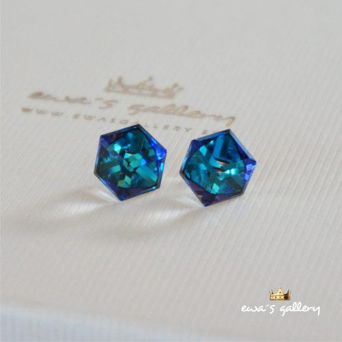 Náušnice Swarovski Kocky – Bermuda blue / 8 mm