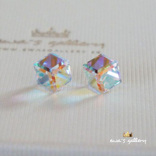 Náušnice Swarovski Kocky – AB Crystal / 8 mm