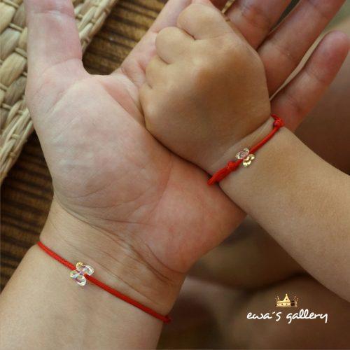 2 kusy náramkov proti urieknutiu MAMA & DIEŤA – Motýlik – Swarovski