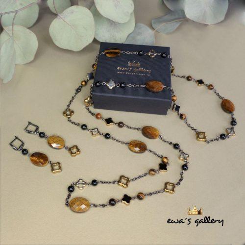 Dlhý náhrdelník s náušnicami SET – Tigrie oko & Hematit & Onyx