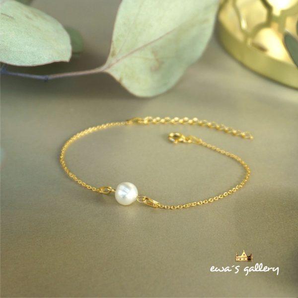 Luxusný tenký náramok retiazka s prírodnou riečnou perlou