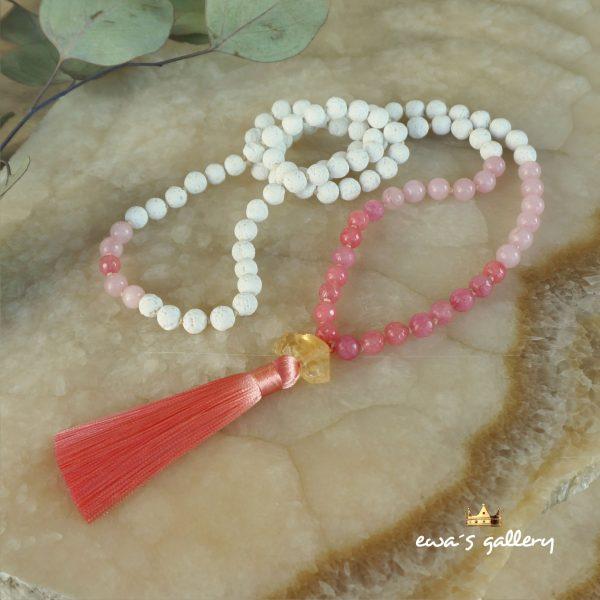 Dlhý náhrdelník, malayský, budhistický ruženec z prírodných polodrahokamov
