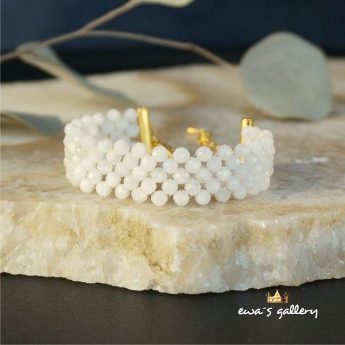 Luxusný náramok z prírodneho poodrahokamu mesačného kameňa