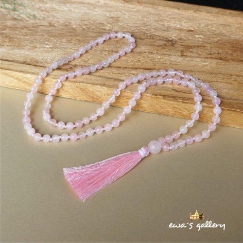 Luxusný náhrdelník malayský ruženec so strapcom a ruženinom