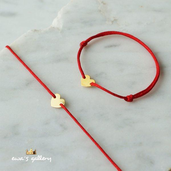 Dva kusy set Mama a Dieťa - červené náramky proti urieknutiu so srdiečkom zo Zlata a Striebra