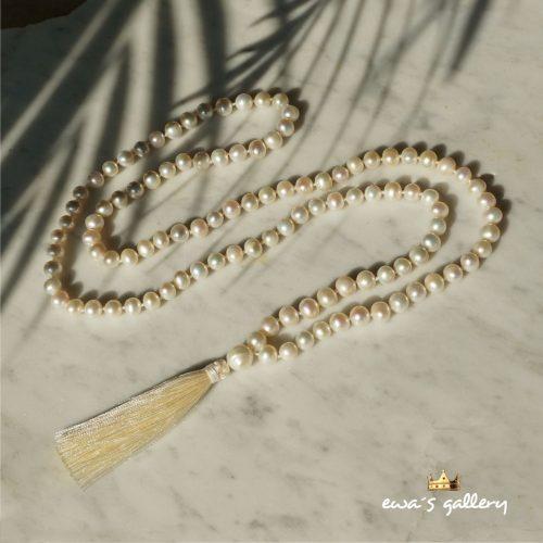 Luxusný mala náhrdelník z prírodnych riečnych perál